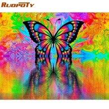 RUOPOTY Rahmen Diy Malerei Durch Zahlen Schmetterling Tiere Moderne Wand Kunst Leinwand Malerei Acryl Malen Nach Zahlen Für Home Dekore