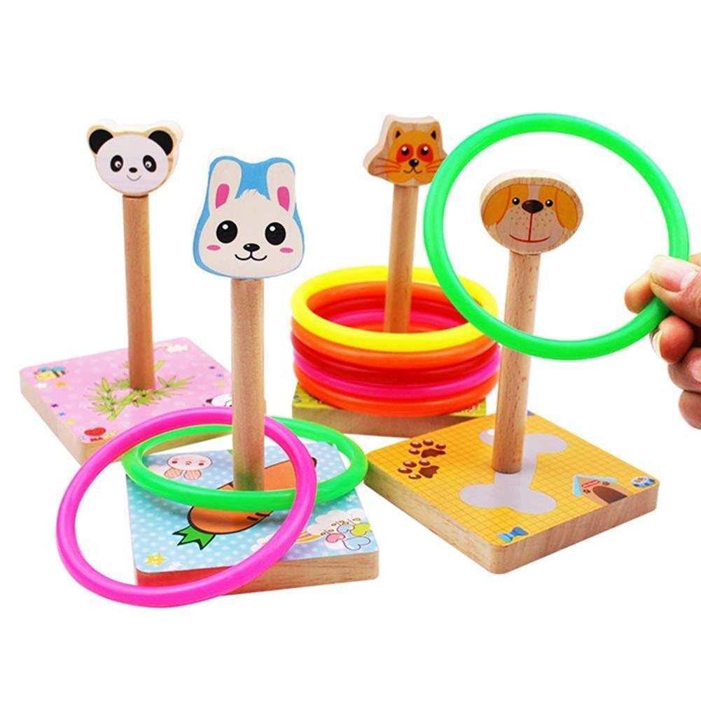 Casquillos de madera divertidos para exterior para niños, juguete para lanzar, Mini Aro para saltar, regalo interactivo