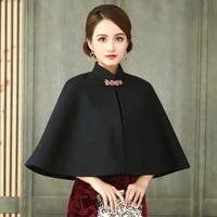 womens cheongsam cape cloak chinese traditional elegant retro ethnic style winter keep warm qipao cloak cloak woolen cloth