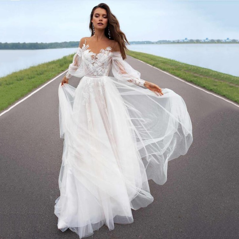 Eightree Sexy Summer Wedding Dress 2021 Tulle Applique Backless Bride Long Sleeve Flower Beach Gowns Custom Size