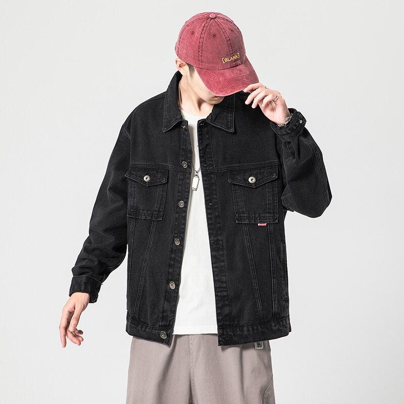 الرجال الجينز 2021 أسود أزرق الخريف الربيع الأزياء السترات الذكور عارضة أبلى الملابس المتضخم