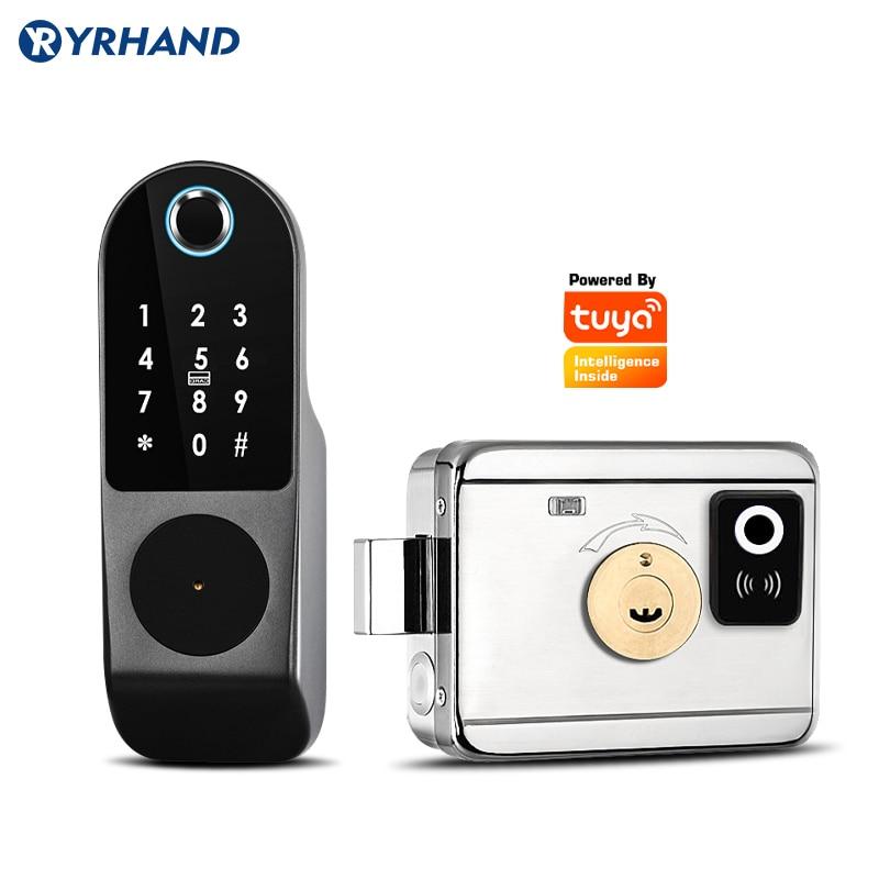 Get Two way Fingerprint Garden Tuya Smart Home WiFi Secure Keypad remote control deadbolt Electronic Digital Smart rfid door lock
