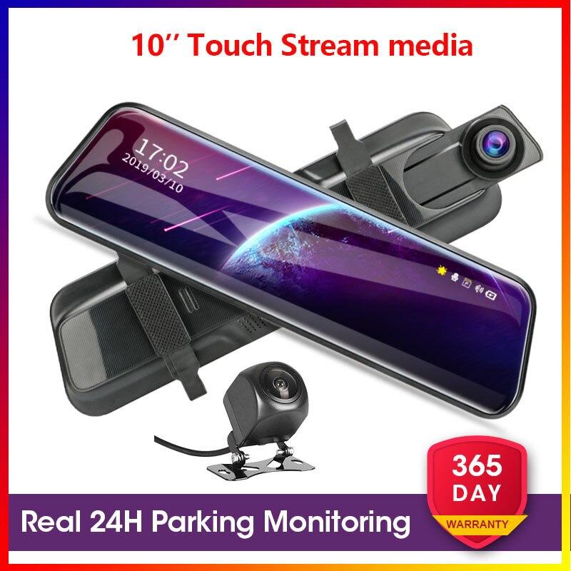 Автомобильный видеорегистратор Develuck, 10 дюймов, два объектива, видеорегистраторы, потоковое зеркало, видеорегистратор 1080P, ночное видение, б...