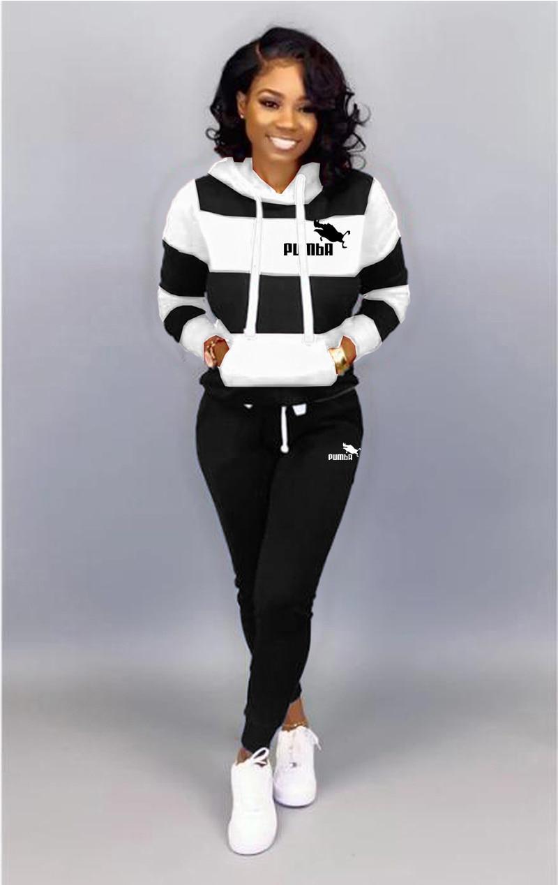 Winter Tracksuit Women 2 Piece Set Sweatshirt Print Hoodies+Pants Sportwear Women's Sports Suit Fema