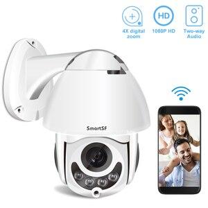 SmartSF 1080P PTZ IP Camera Wifi Outdoor Dome Wireless Wifi Security Camera Pan Tilt 5X Digital Zoom 2MP CCTV Surveillance