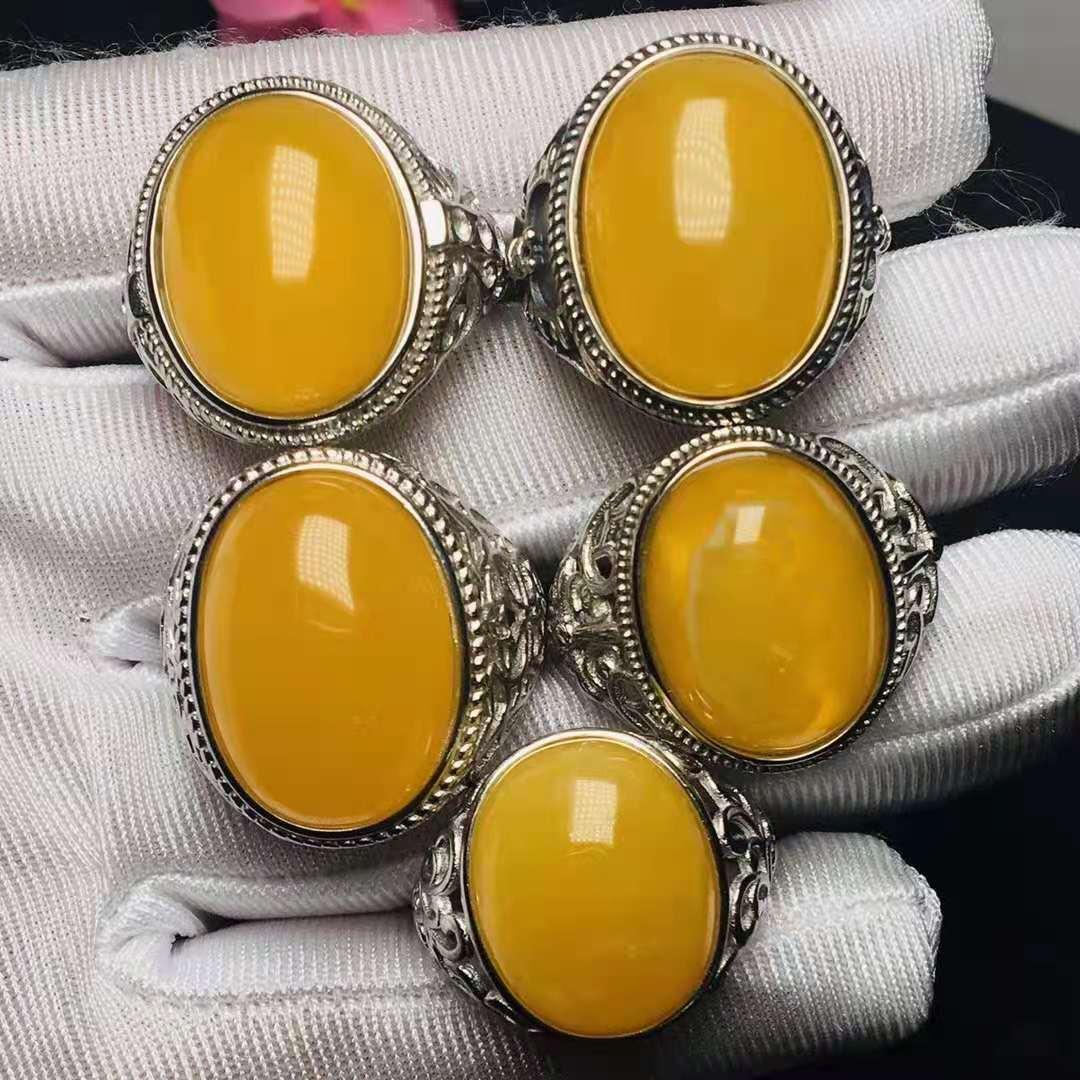 Review 2Pcs/Lot natural amber ring men jewelry S925 sterling silver inlaid adjustable bagu homme vintage aliança de namoro Wholesale