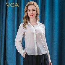 VOA Silk 18mm czysta biała podwójna krepa kołnierzyk POLO jeden rząd ukryty przycisk z długim rękawem prosta luźna klasyczna koszula damska B08