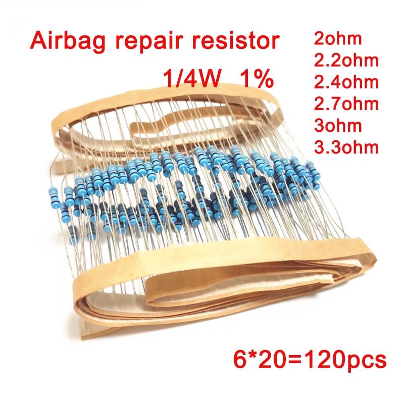 1/4 Вт 1% металлическая пленка сопротивление Автомобильный Воздушная подушка, Ремонтный комплект резистор 2ohm 2.2ohm 2.4ohm 2.7ohm 3ohm 3.3ohm 6 типов электр...