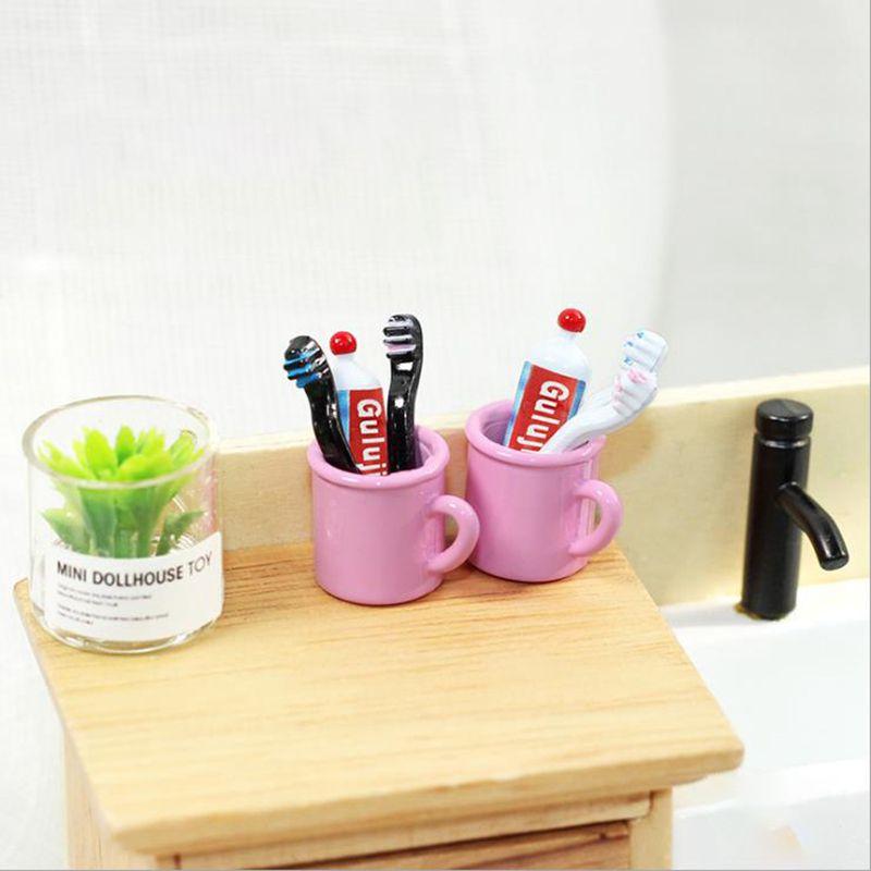 4 unids/set 1:12 miniatura cepillo de dientes Set Mini taza Dental +...