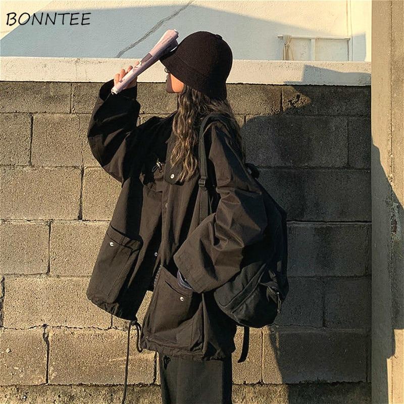 Basic Jackets Women High Street Oversized Chic Cargo BF Style Spring Fashion Ladies Jacket Adjustabl