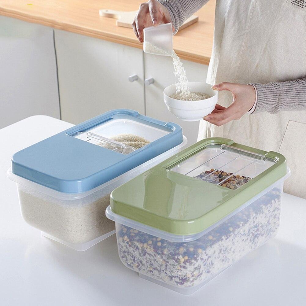 جديد 10 كجم صندوق تخزين الأرز البلاستيك دلو مختومة مقاومة للرطوبة سعة كبيرة الحبوب الدقيق الحاويات المطبخ الحبوب الحبوب USJ99