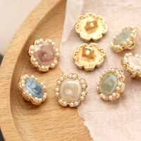 10pcs flower pink pearl gold metal vintage buttons for clothing coat dress shirt decorative wedding sewing accessories wholesale