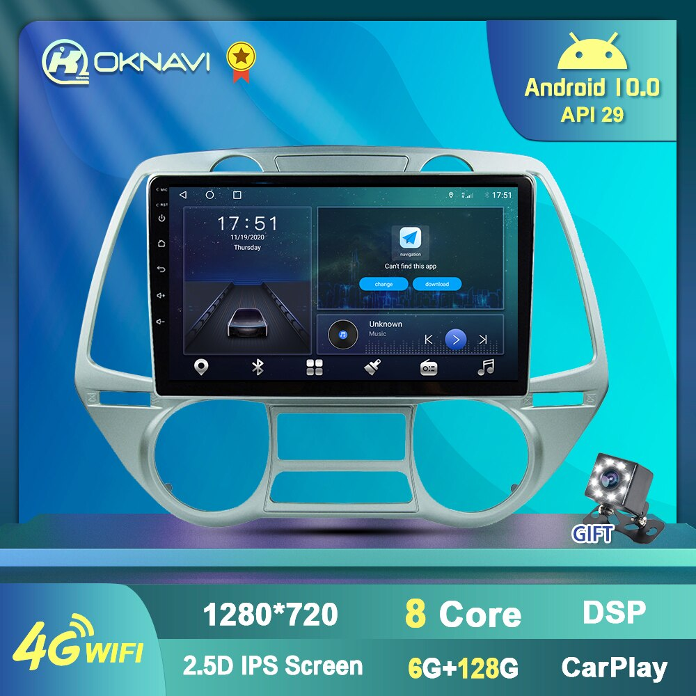 Autoradio for Hyundai I20 2008-2012 Car Radio Multimedia Player GPS Navigation Antenna 2 Din Carplay Bluetooth Streeing Wheel