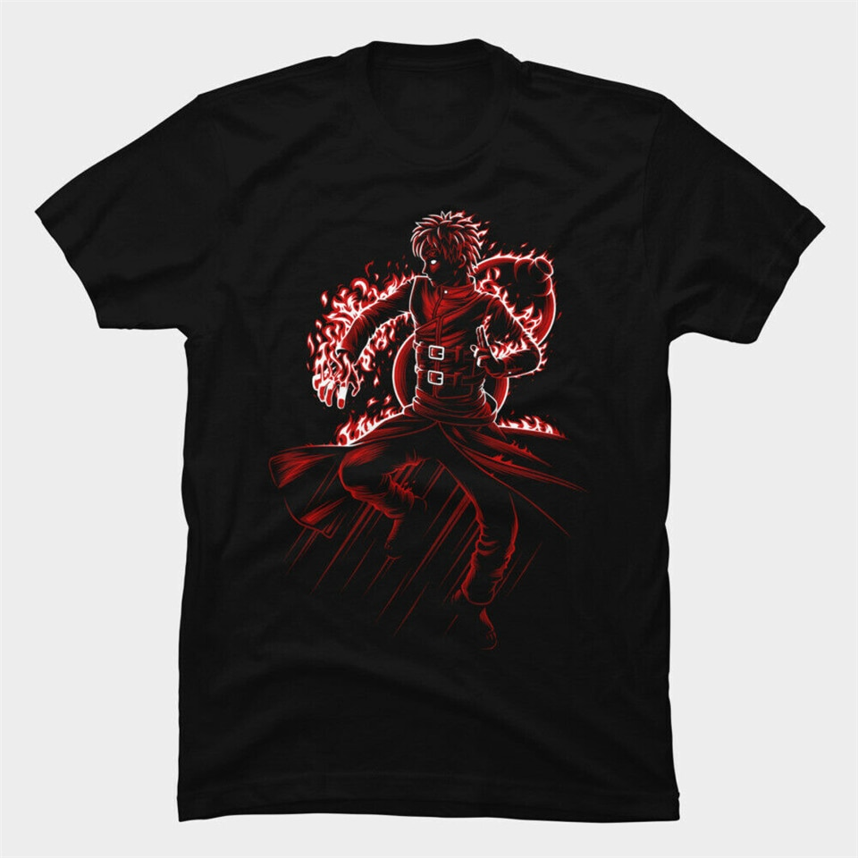 Naruto amigo Kazekaga Gaara de la arena del desierto en llamas negro camiseta fiesta Tee Shirt