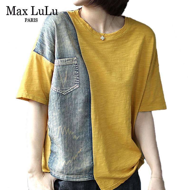 Max LuLu nuevo 2020 verano Tops moda coreana señoras Vintage camisetas mujeres Denim Patchwork Camisetas Mujer oversize Streetwear