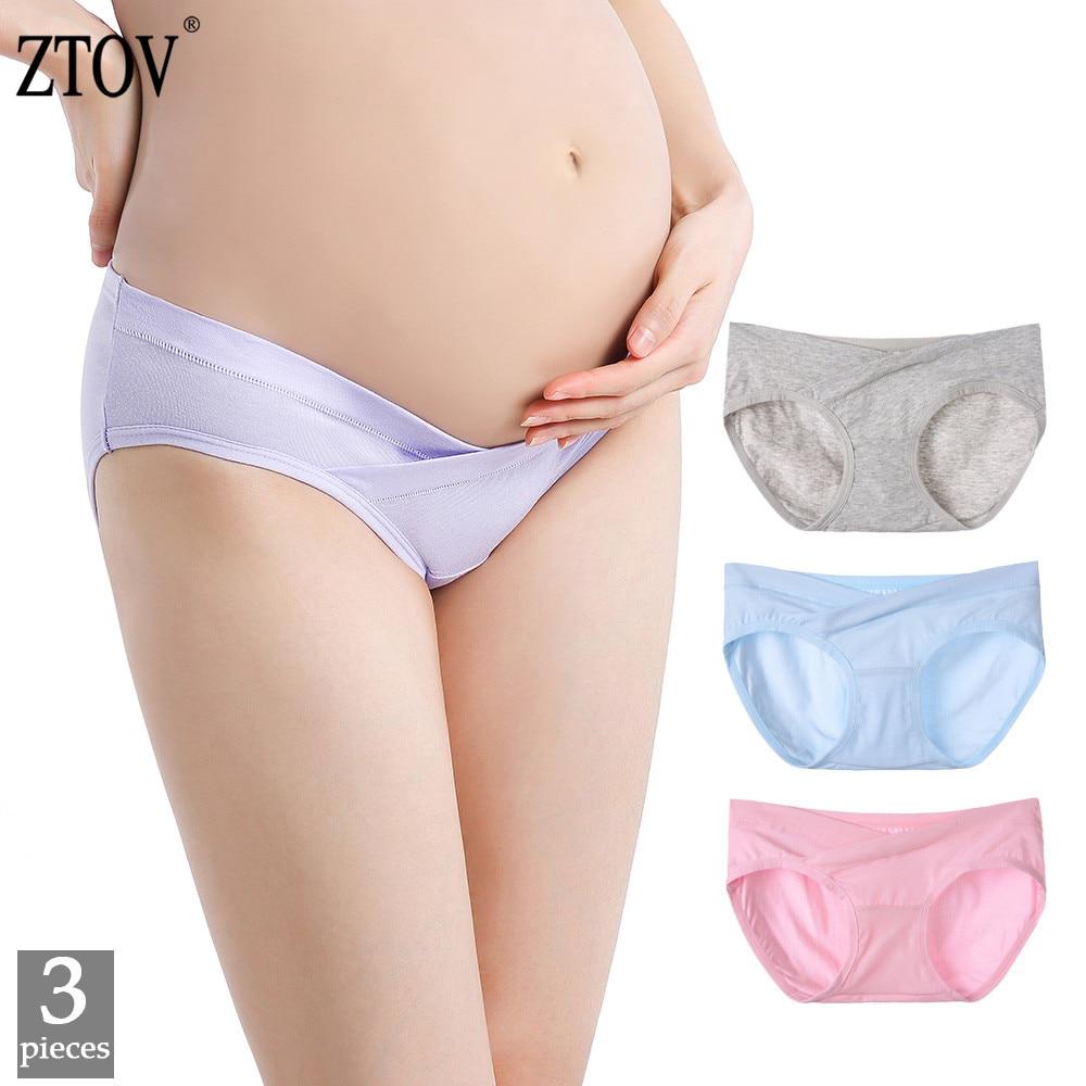ZTOV, 3 unidades por lote, ropa interior de maternidad de algodón de cintura baja, bragas para embarazadas, bragas de maternidad, ropa íntima XXXL