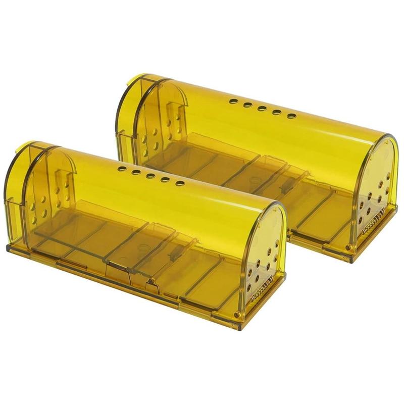Pack de 2 humano las trampas de ratón reutilizable para de interior al aire libre de uso para pequeño roedor roedores hámsteres lunares Catcher