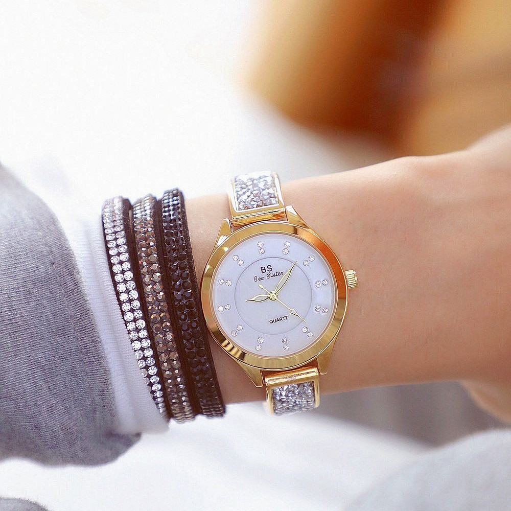 Top Brand Full Diamond Women's Watches Quartz Movement Stainless Steel Sliver Gold Dial Ladies Clock Gift for Wife Reloj Mujer enlarge