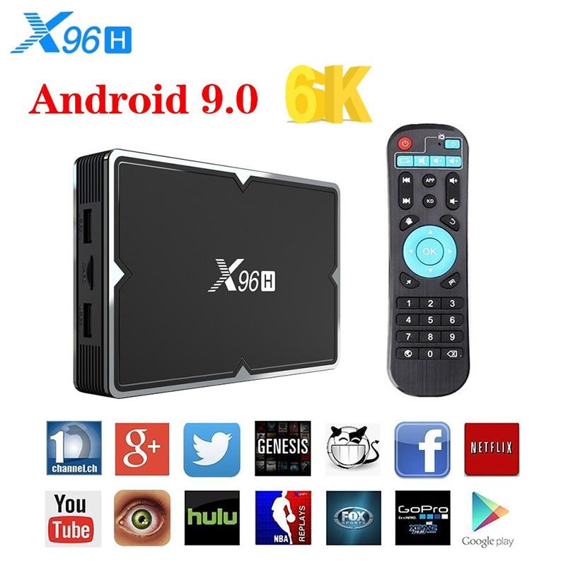 X96H Android 9,0 TV Box 4GB 64GB H603 CPU Quad-core de 6K 2,4G 5G Dual Wifi USB 3,0 BT4.1 H.265 Lan 100M Set de Top Box Android