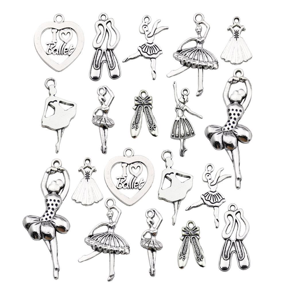 60pcs Antique Silver Ballerina Ballet Dancer Charms for DIY Necklace Bracelet Jewelry Making M290