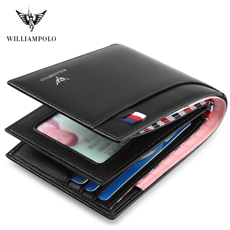 WILLIAMPOLO 2020 männer Schlanke Brieftasche Aus Echtem Leder Mini Geldbörse Lässig Design Bifold Brieftasche Kurze Kleine Tasche Geschenk PL181342