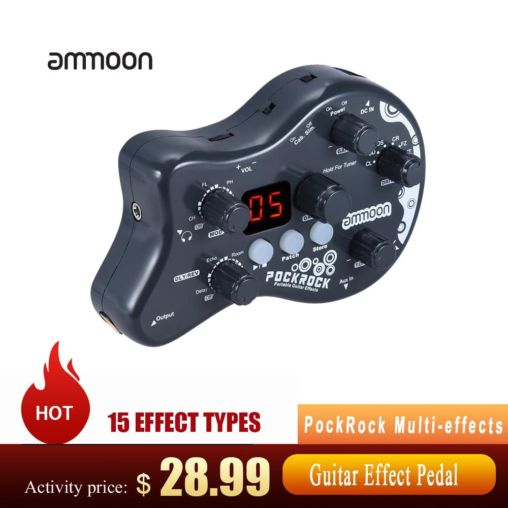 Ammoon PockRock غيتار متعدد الآثار تأثير المعالج دواسة الغيتار دواسة 15 أنواع تأثير 40 إيقاعات طبل مع محول الطاقة الساخن