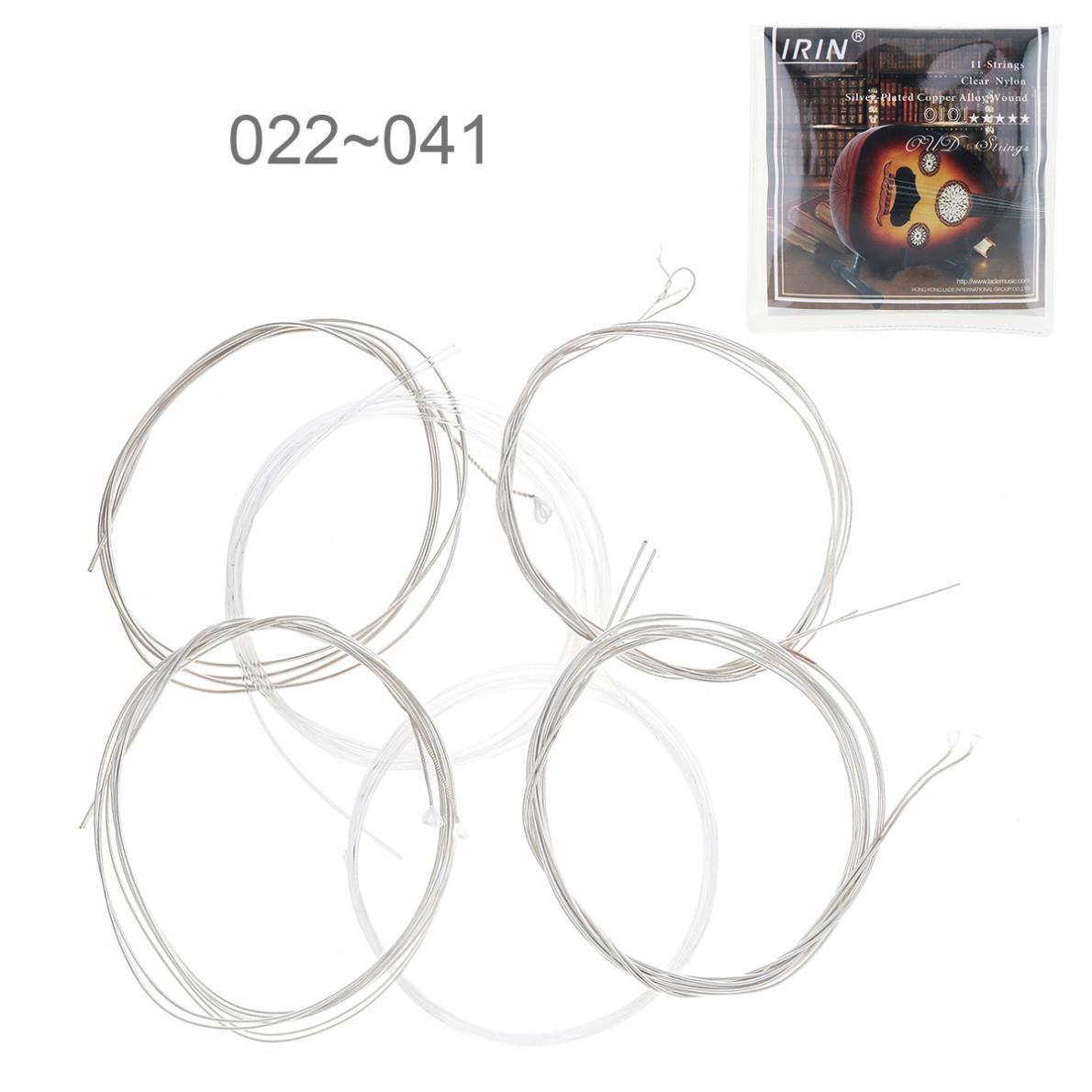 6 pçs/lote Oud Cordas 022-041 Polegada Limpar Nylon Prata-Banhado A Liga de Cobre com Completo Tom Brilhante Cordas Da Guitarra