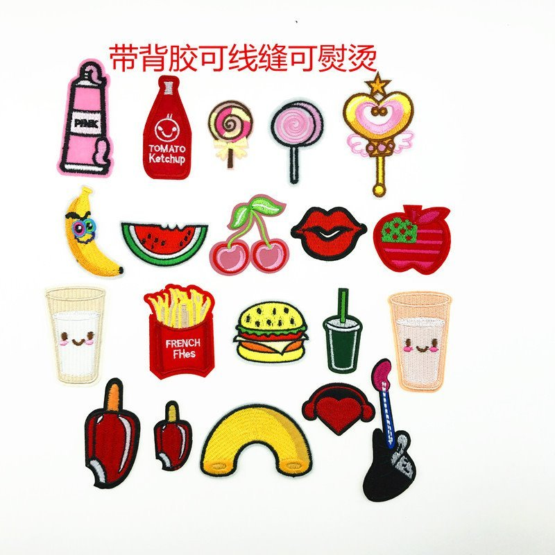 50pcs/lot Fruit Hamburger Coke Embroidery Patches Letters Clothing Decoration Accessories  Diy Iron Heat Transfer Applique