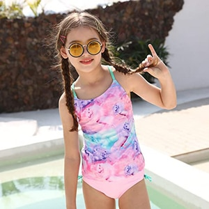 Girls Two Piece Swimwear Tank Top Kids Children Swimsuits Swim Bathing Suits , Racerback Beach Swimming Bathing Suits
