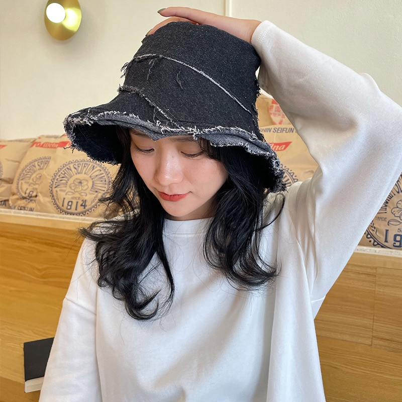 Women Irregular Denim Washed Raw Edge Bucket Hats Sun Spring Summer Harajuku Panama Caps Fashion Fishing Black Fisherman's Hat