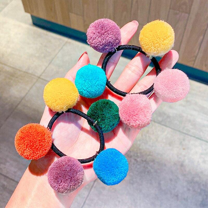 Oaoleer радужные помпоны, эластичные повязки для волос, милые красочные шарики, резинка для волос, завязка для конского хвоста для женщин, аксессуары для волос для девочек