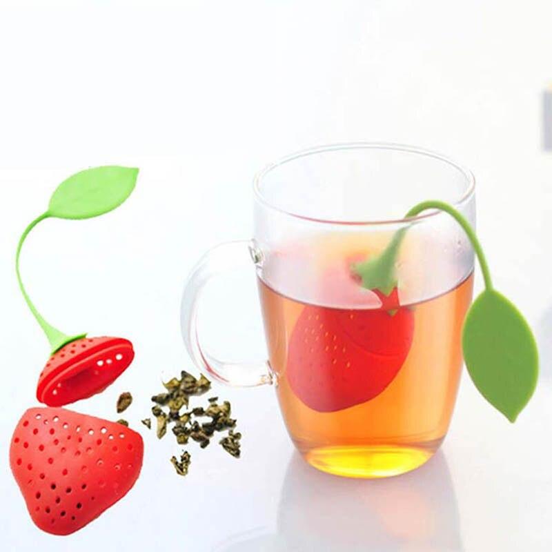 1 Uds suministros de cocina colador de té no-tóxicos pequeño fresco lindo molde de silicona con forma de fresa Infusor de té bolsa de té accesorio para tetera