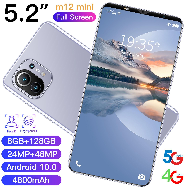 M12mini هاتف ذكي أندرويد هاتف محمول 5G 8 + 128GB MTK6889 عشاري النواة 24MP + 48MP هاتف محمول غير مقفول s الإصدار العالمي المميز
