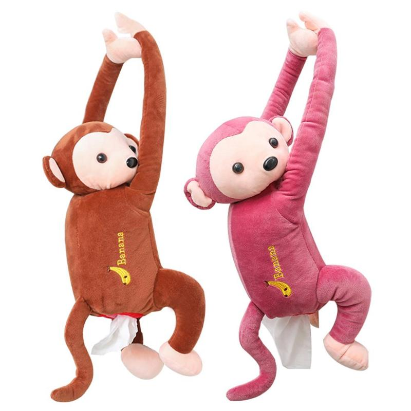 Caja de pañuelos creativa de dibujos animados Animal mono coche colgante servilleta de papel caja de pañuelos caja de la cubierta del sostenedor de la caja de pañuelos del coche