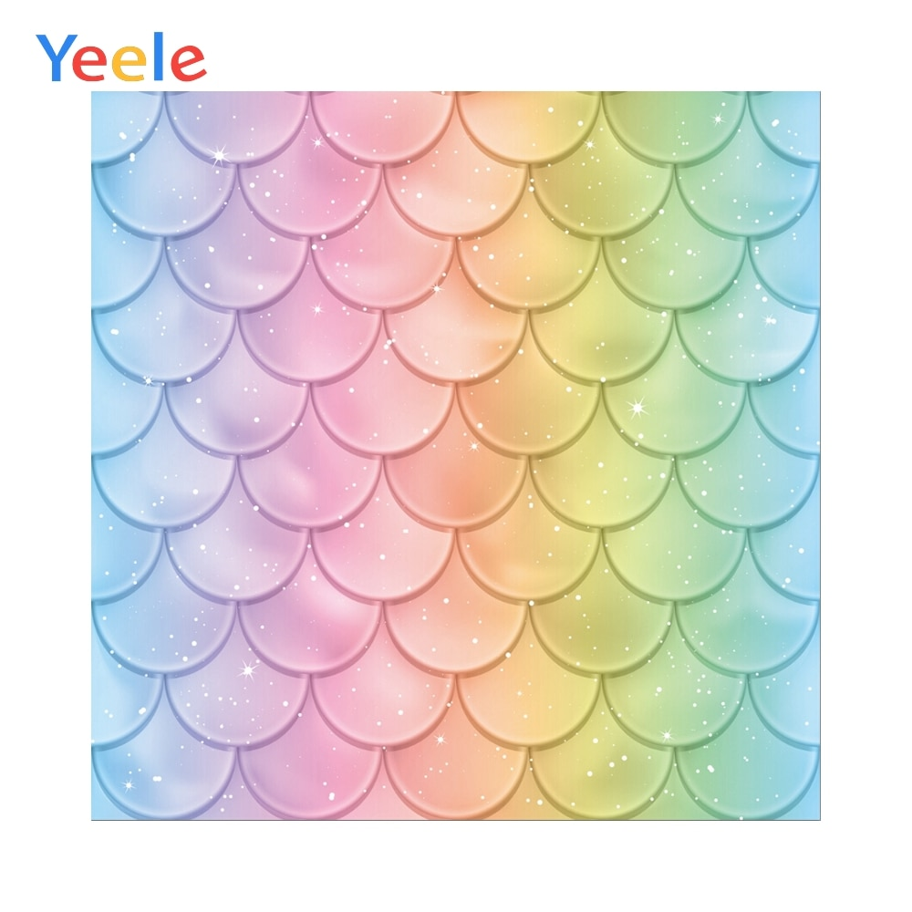 Yeele Mermaid Party Fish Scales Baby Shower Newborn Birthday Photography Backgrounds Photographic Backdrops For Photo Studio
