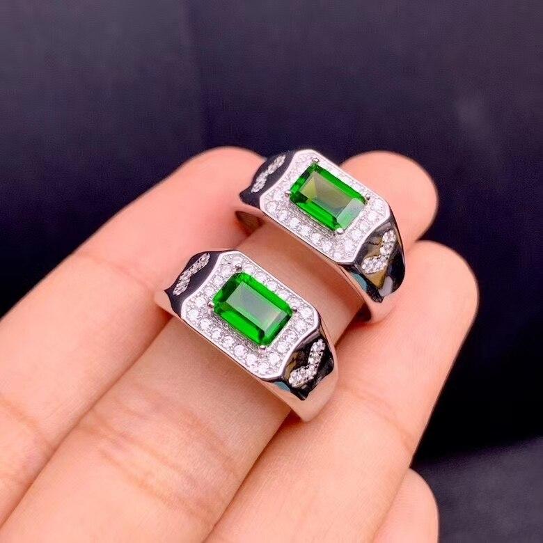 CoLife مجوهرات 100% الطبيعي كروم ديوبسايد الدائري ل ارتداء اليومي 5*7 مللي متر VVS الصف ديوبسايد خاتم فضة 925 الفضة ديوبسايد مجوهرات