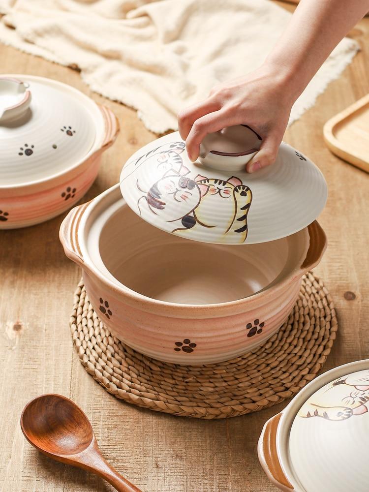 القط خزفي ارتفاع درجة الحرارة مقاومة إناء عميق الحساء الصينية خزفي الغاز المنزلية الغاز Claypot الأرز وعاء خزفي صغير