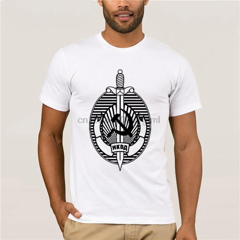 2019 Camiseta de cuello redondo para hombre verano ruso NKVD la antigua KGB soviética comunista seguridad caliente mens divertido casual imprimir camiseta