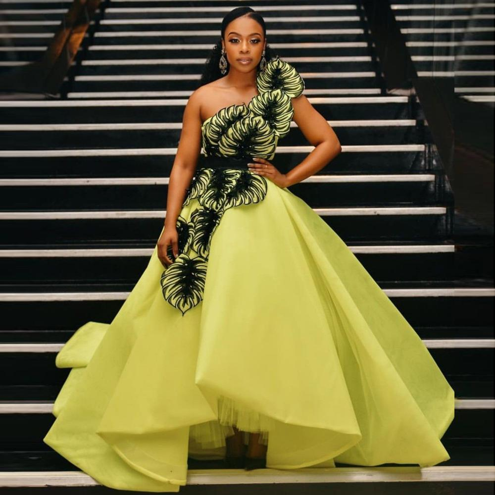 Ярко-зеленое платье de soiree, новинка 2020, вечернее платье на одно плечо, бальное платье, уникальные цветы в виде листьев, длинные платья для выпу...