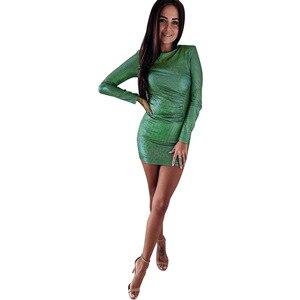 Dress Winter 2020 Sexy O-neck Bodycon Women Office Short Dresses Elegant Ladies Long Sleeve Club Mini Dress Vestidos