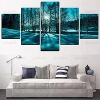 winter woods snow sunshine beautiful scenery cool color wall painting home decoration canvas hd printing frameless poster