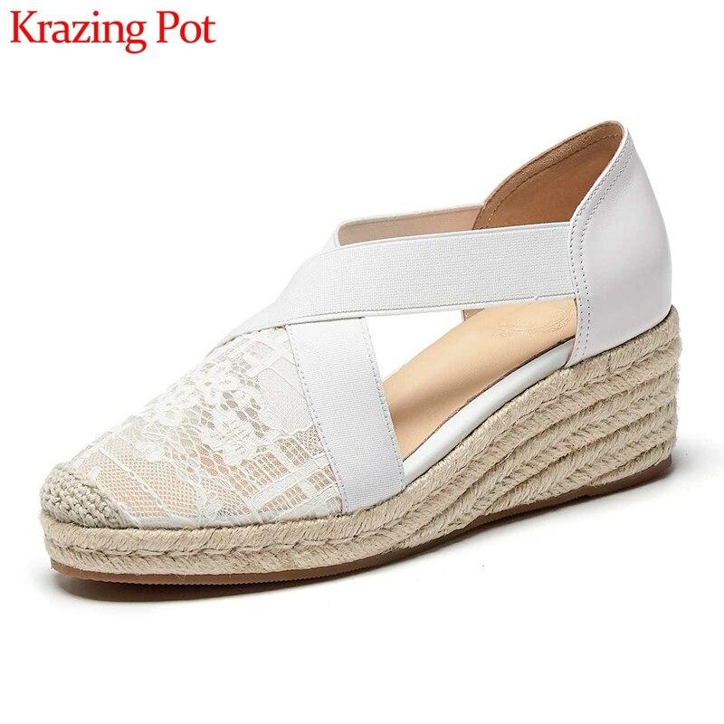 Krazing pot verão protetor solar sandálias rendas dedo do pé redondo salto alto cunhas de palha alta rua moda diária sapatos lazer feminino l28