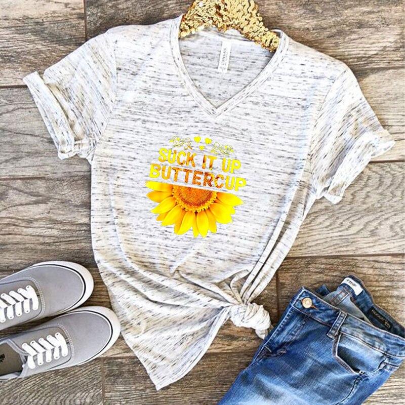 Las mujeres camisetas de moda 2019 poliéster cuello en V gracioso imprimir aguacate Rana Camisetas de manga corta niñas Tops 90s 00s ropa