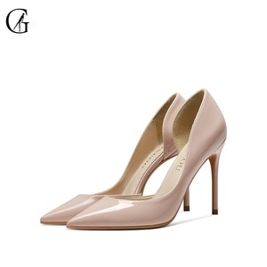 GOXEOU Women's Pumps Patent Lether Nude Dark Nude Black Red White D'orsay Pointed Toe High Heels Party Fashion Lady Shoes 32-46