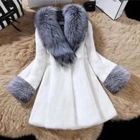 elegant faux mink fur coat 2021 new korean women designer fluffy winter jackets thick warm artificial fox fur outerwear