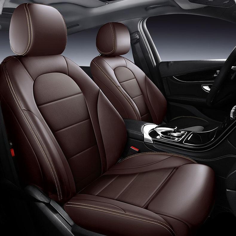 Funda de cuero para asiento de coche de cuero de vaca personalizada para auto Mercedes Benz ML GLA GLK GLE S E G Class accesorios de coche pegatina interior para coche