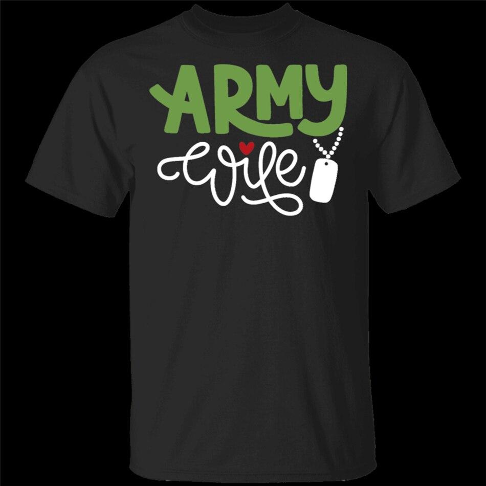 Ejército esposa Linda etiqueta perro tipografía militar esposa negro camiseta M-XXXL personalizar O cuello