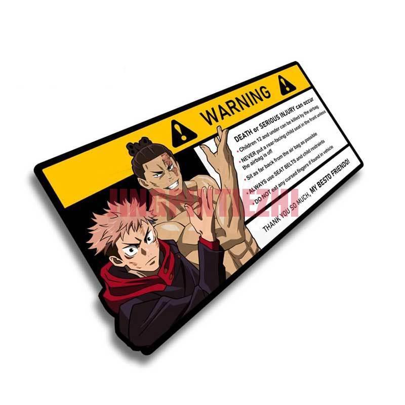 Индивидуальная Автомобильная наклейка, креативная предупреждающая Автомобильная наклейка для Itadori Yuji, мультяшная аниме виниловая JDM Накле...