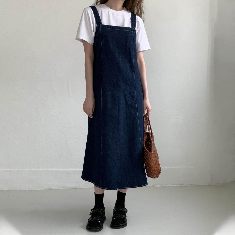 CMAZ 2021 Summer Women Denim Dress Sundress Teen Girls Casual Loose Overalls Female Strap Long Streetwear Jean Dresses 56401#