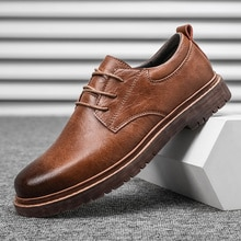 Fashion Shoes Spring Autumn Lace Up Leather Shoes Brand Comfy Office Style Leisure Walk Oxfords Men